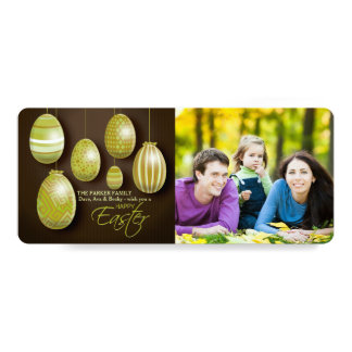 """Hanging Easter Eggs Photo Card 4"""" X 9.25"""" Invitation Card"""