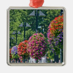 Hanging Flower Baskets Square Metal Christmas Ornament