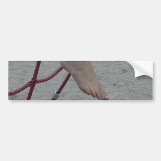 hanging foot climbing frame feet playground sand car bumper sticker