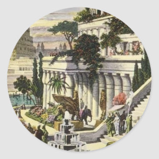 Hanging Gardens of Babylon by Maerten van Heemsker Classic Round Sticker