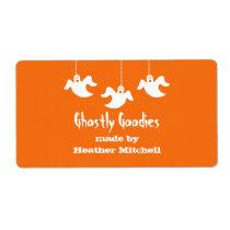 Hanging Ghosts Halloween Baking Labels, Orange Shipping Label