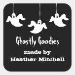 Hanging Ghosts Halloween Baking Stickers, Black