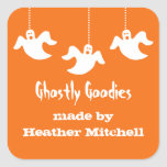 Hanging Ghosts Halloween Baking Stickers, Orange