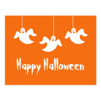 Hanging Ghosts Halloween Postcard, Orange Postcard