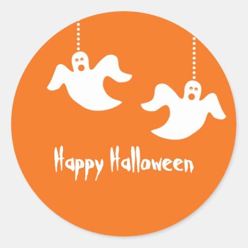 Hanging Ghosts Halloween Stickers, Orange