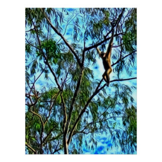 """Hanging Gibbon"" Artwork Posters"