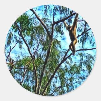 """""""Hanging Gibbon"""" Artwork Round Sticker"""