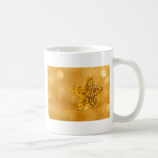 Hanging Gold Sequin Star Christmas Decor Bokeh Coffee Mug