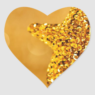 Hanging Gold Sequin Star Christmas Decor Bokeh Heart Sticker