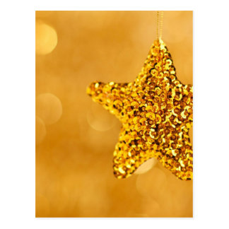 Hanging Gold Sequin Star Christmas Decor Bokeh Postcard