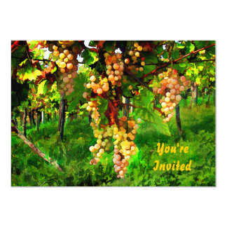 """Hanging Grapes on the Vines 5"""" X 7"""" Invitation Card"""