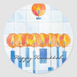 Hanging Hanukkah Candles Classic Round Sticker