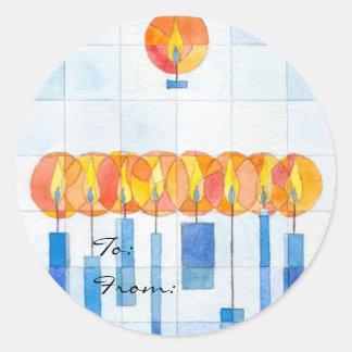 Hanging Hanukkah Candles Gift Tag