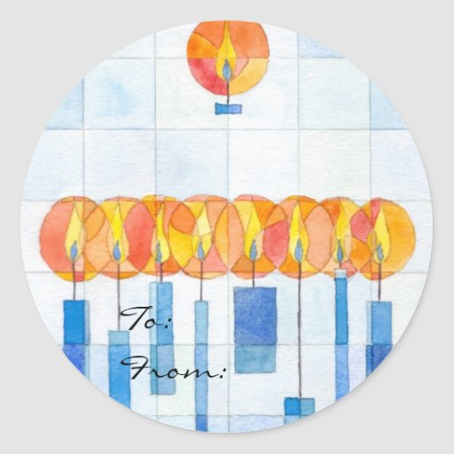 Hanging Hanukkah Candles Gift Tag Classic Round Sticker