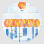Hanging Hanukkah Candles Gift Tag Sticker