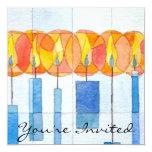 "Hanging Hanukkah Candles 5.25"" Square Invitation Card"