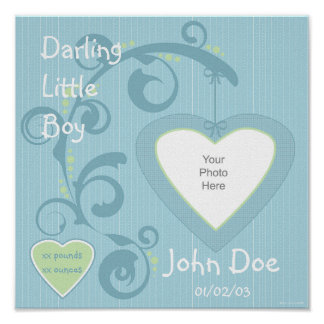 Hanging Heart Boy Scrapbook Page Poster