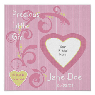 Hanging Heart Girl Scrapbook Page Poster