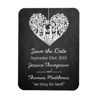 Hanging Heart Tree Chalkboard Save The Date Rectangular Photo Magnet