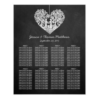 Hanging Heart Tree Chalkboard Wedding Collection Poster