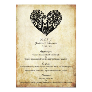 Hanging Heart Tree Vintage Wedding Menu Card