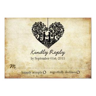 Hanging Heart Tree Vintage Wedding RSVP Card