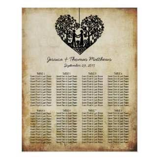 Hanging Heart Tree Vintage Wedding Seating Chart
