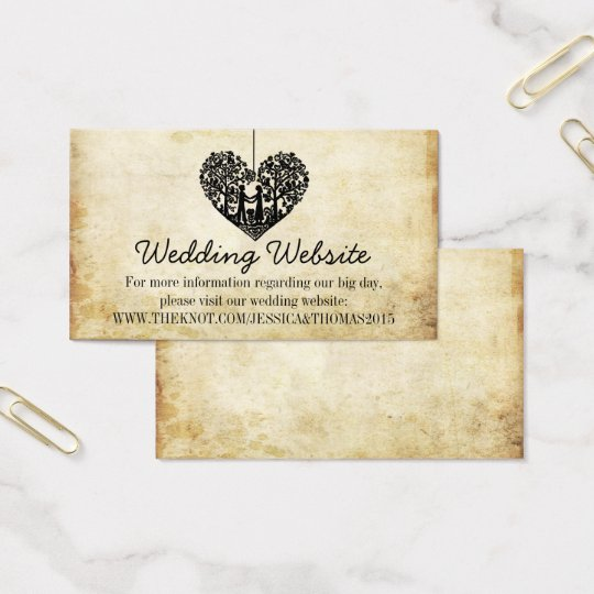 Hanging Heart Tree Vintage Wedding Website Business Card | Zazzle