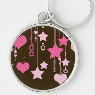 Hanging Hearts, Stars, Dots - Brown Pink Silver-Colored Round Keychain