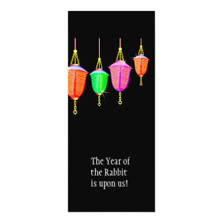 """Hanging Lanterns - Any bkgd color 4"""" X 9.25"""" Invitation Card"""