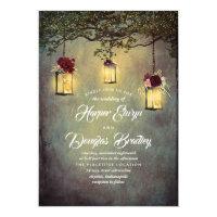 Hanging Lanterns Burgundy Red Rustic Wedding Invitation