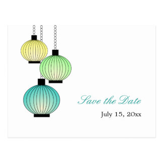 Hanging Lanterns Save the Date Postcards