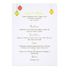 Hanging Lanterns Wedding Menu Card Personalized Announcements