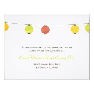Hanging Lanterns Wedding Reception Card