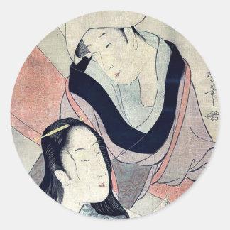 Hanging laundry to dry by Kitagawa, Utamaro Ukiyo- Classic Round Sticker