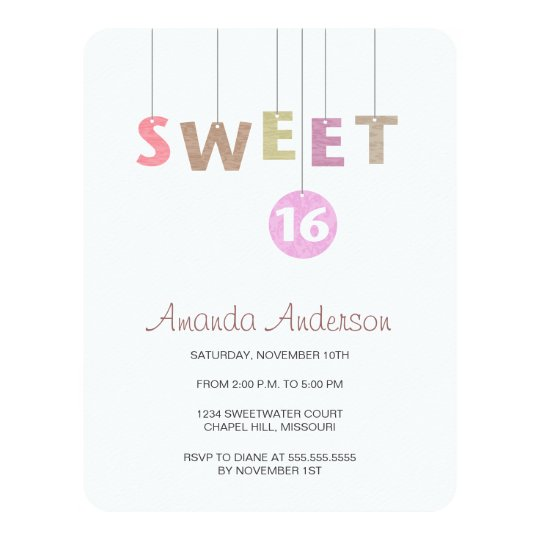 Hanging Letters Sweet Sixteen Birthday Invitations Zazzlecom - Letters of birthday invitation