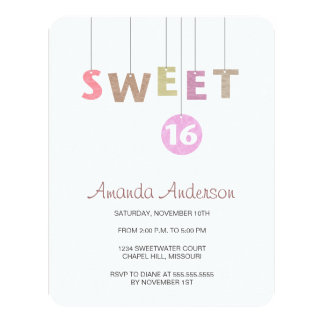 Hanging Letters Sweet Sixteen Birthday Invitations