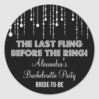 Hanging Lights Bachelorette Party Black Round