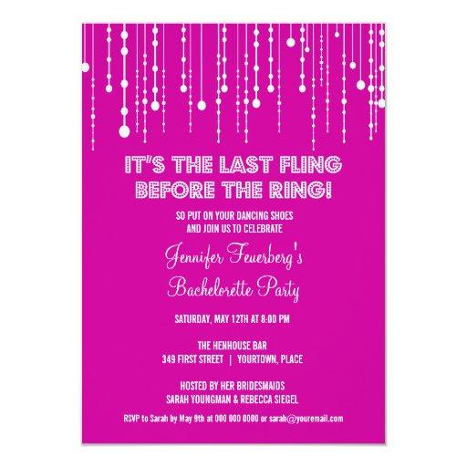 "Hanging Lights Bachelorette Party Invitation 4.5"" X 6.25"" Invitation Card"