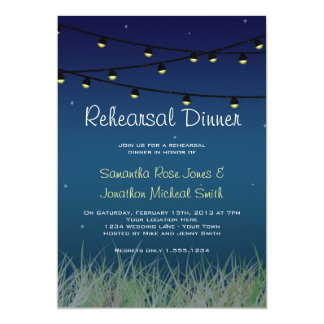 Hanging Lights Rehearsal Dinner Under the Stars 5x7 Paper Invitation Card