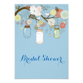 Hanging Mason Jar & Retro Flowers Bridal Shower 2 5x7 Paper Invitation Card
