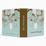 Hanging Mason Jar & Retro Flowers Bridal Shower 3 Ring Binder