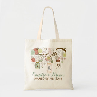 Hanging Mason Jar & Retro Flowers Wedding Design Tote Bag
