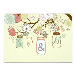 Hanging Mason Jar & Retro Flowers Wedding Invite