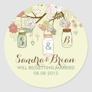 Hanging Mason Jar & Retro Flowers Wedding Sticker