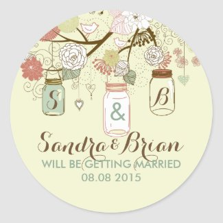 Hanging Mason Jar & Retro Flowers Wedding Sticker