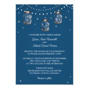 Hanging Mason Jars and Fireflies Invitation