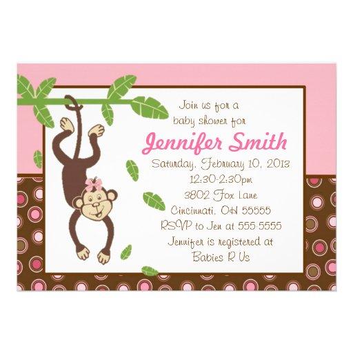hanging monkey baby shower invitation zazzle