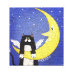 Hanging on the Moon Stretched Canvas Print