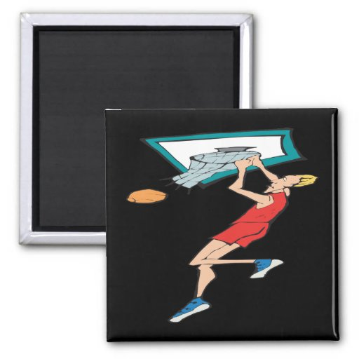 Hanging On The Rim 2 Inch Square Magnet